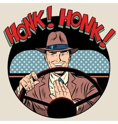Honk vehicle horn driver man vector