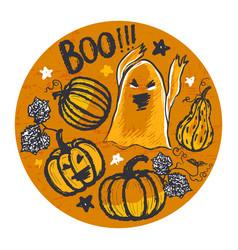 ink hand drawn halloween background vector image
