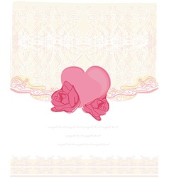 invitation with heart card vector image vector image