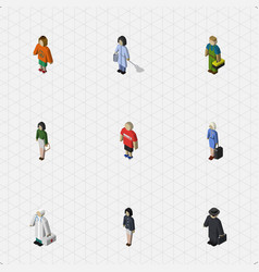 Isometric people set of housemaid hostess lady vector