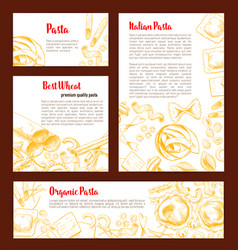 Italian pasta banner template set for food design vector