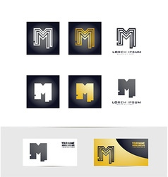 Letter M logo icon set vector image
