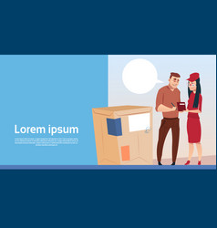 Man sign document courier woman box delivery vector