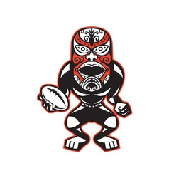 Maori mask rugby player standing with ball vector