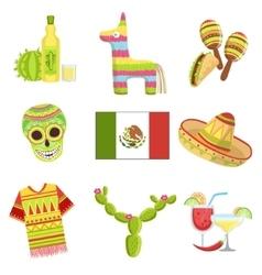 Mexican national symbols set vector