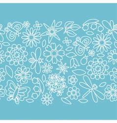 Natural pattern with beautiful flowers beetles vector