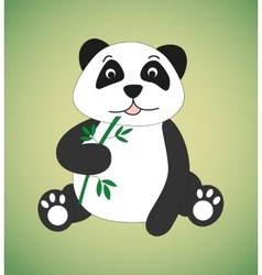 Panda with sprig of bamboo vector