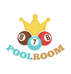 Poolroom colorful logo label with balls and yellow vector