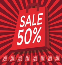 Sale 10 - 90 percent text on with red shopping bag vector image