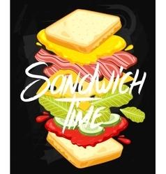 Sandwich on chalkboard vector