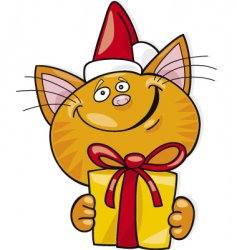 Santa cat with gift vector image