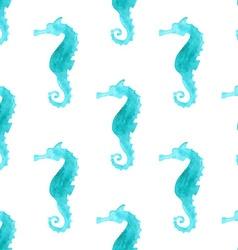 Seamless watercolour sea-horse pattern vector