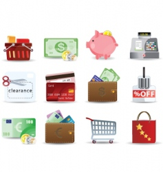 shopping and consumerism icons vector image vector image