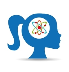 Silhouette head girl student chemistry vector