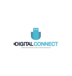 template logo for digital connect with usb flash vector image