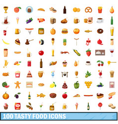 100 tasty food icons set cartoon style vector image vector image