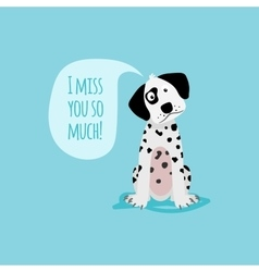 Cartoon happy dalmatian dog card template vector