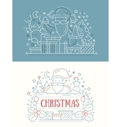Merry christmas - line design cards vector