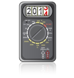 2014 New Year Multimeter on a white background vector image vector image