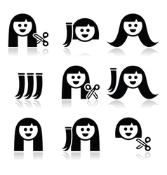 Hair extensions haircut icons set vector
