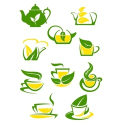 Herbal and lemon tea cup icons vector