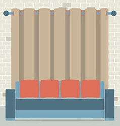 Empty sofa in front of brown curtain and brick vector