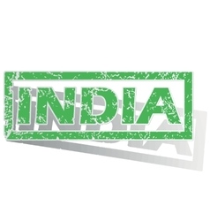 Green outlined india stamp vector