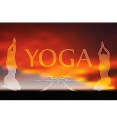 Yoga on blurred background vector