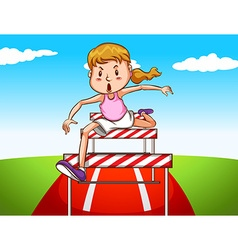 Girl jumping hurdles on track vector