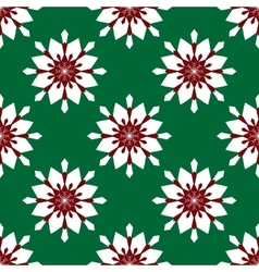 Flowers snowflakes on a green background vector