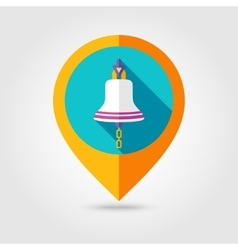 Bell marine flat mapping pin icon with long shadow vector