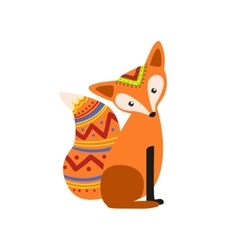 Simple fox wearing tribal clothing vector