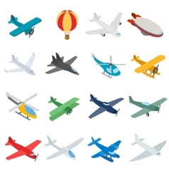 Aviation icons set isometric 3d style vector