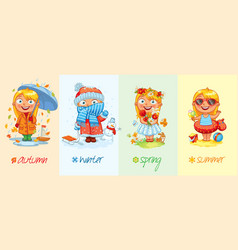 baby girl and the four seasons vector image vector image