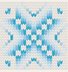Blue jacquard fairisle seamless knitting pattern vector