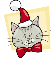Christmas cat Santa vector image
