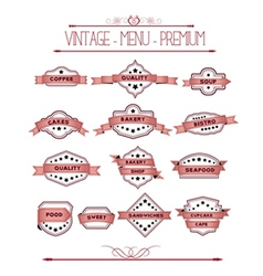 Collection of vintage retro food labels and badges vector