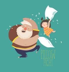 Dad and daughter playing pillow vector