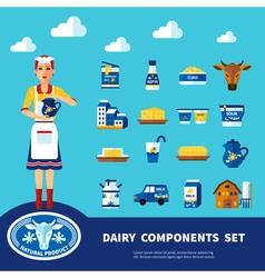 Dairy components set vector