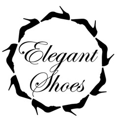 Elegant shoes text with a circle of ladies shoes vector image vector image
