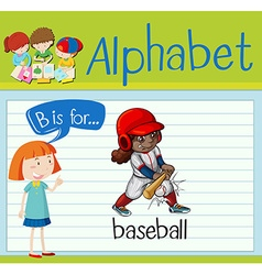 Flashcard alphabet b is for baseball vector