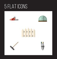 Flat icon farm set of harrow hothouse hacksaw vector