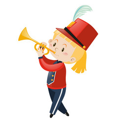 Girl in band uniform playing trumpet vector