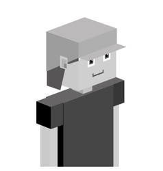 Gray lego child half body with t-shirt and cap vector