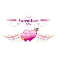 Happy valentines day border cupid arrow heart vector