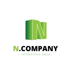 isometric gradient N letter logo Company vector image vector image