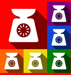 Kitchen scales sign set of icons with vector