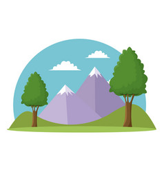 landscape travel vacation mountain trees grass sky vector image vector image