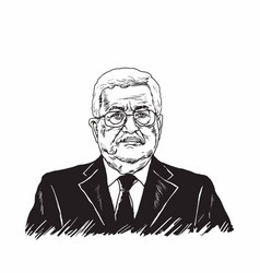 mahmoud abbas president of palestine black white vector image vector image