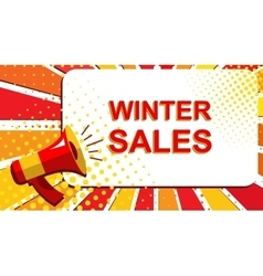 Megaphone with winter sales announcement flat vector